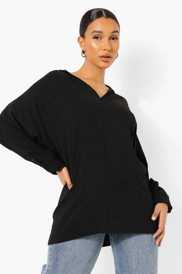 Black Tall Linen Look Oversized Shirt
