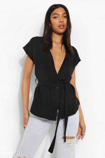 Black Tall Linen Look Belted Wrap Blouse