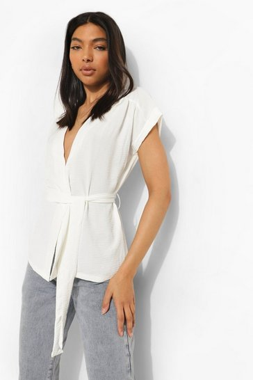 White Tall Linen Look Belted Wrap Blouse