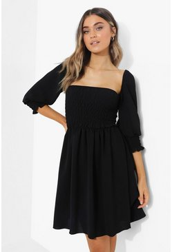 Black Tall Linen Look Shirred Puff Mini Dress