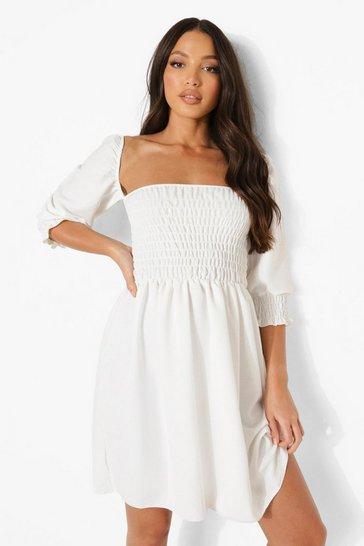 White Tall Linen Look Shirred Puff Mini Dress