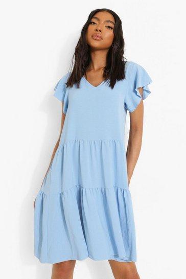 Blue Tall Linen Look V Neck Smock Dress