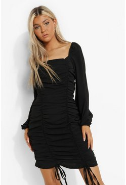 Black Tall Linen Look Ruched Mini Dress