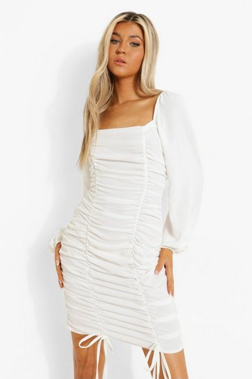 White Tall Linen Look Ruched Mini Dress