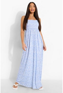Tall Ditsy Floral Shirred Bandeau Maxi Dress, Baby blue azul