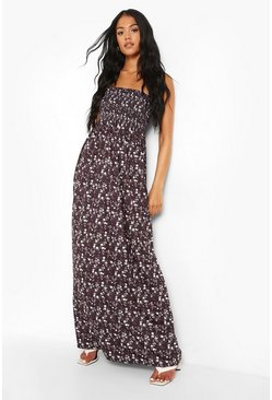 Tall Ditsy Floral Shirred Bandeau Maxi Dress, Black nero