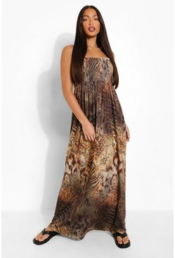 Black Tall Animal Print Shirred Bandeau Maxi Dress