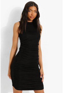 Black Tall Ruched Side Mini Dress