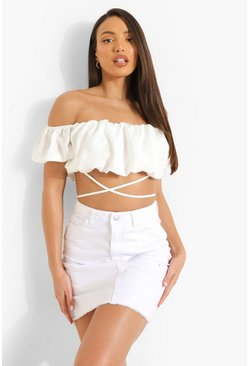 White Tall Raw Hem Denim Mini Skirt