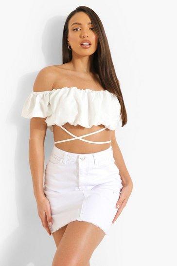 White Tall Raw Hem Denim Mini Skirt