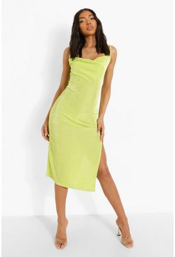 Lime green Tall Cowl Neck Slinky Side Split Midi Dress
