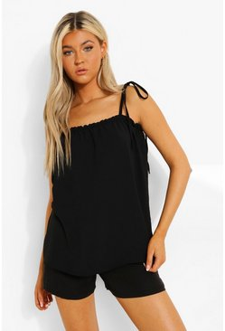 Black Tall Linen Look Gathered Edge Cami