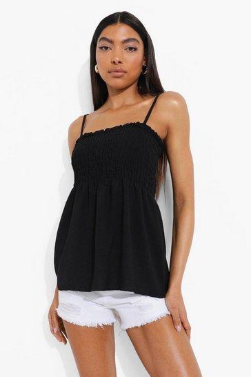 Black Tall Linen Look Shirred Peplum Cami Top