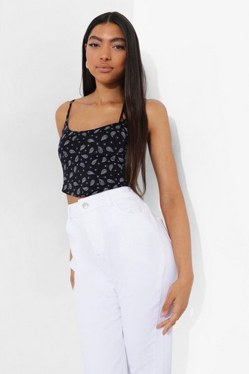 Black Tall Strappy Corset Style Bandana Crop Top