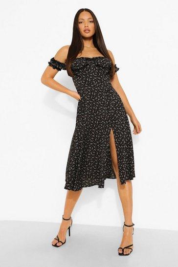Black Tall Ditsy Floral Corset Bardot Midi Dress