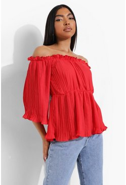 Red Tall Pleated Bardot Peplum Blouse
