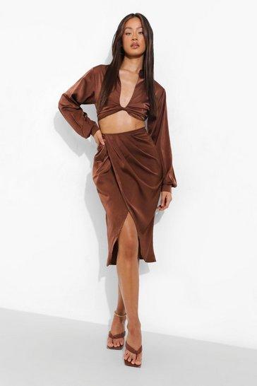 Chocolate brown Tall Satin Crop Midi Skirt Co-ord