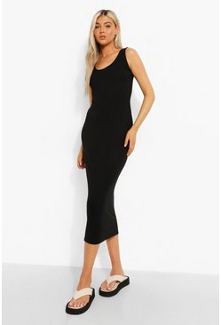 Tall Scoop Neck Midi Dress, Black negro