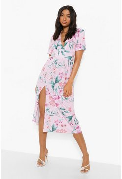 Baby pink pink Tall Butterfly Floral Midi Dress