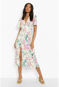 Lemon yellow Tall Butterfly Floral Midi Dress