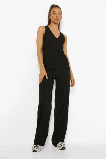 Black Tall V-neck Rib Trouser Co-ord