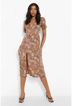 Brown Tall Animal Print Midi Dress