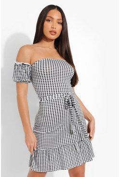 Black Tall Gingham Off Shoulder Skater Dress