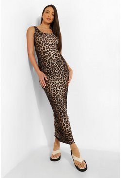 Brown Tall Leopard Scoop Neck Maxi Dress