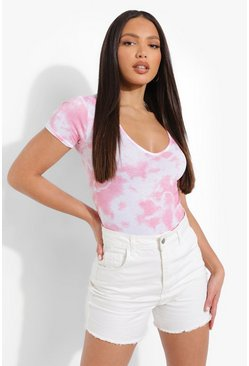 Light pink pink Tall Tie Dye Shortsleeve Bodysuit