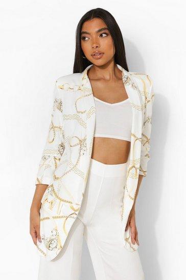 White Tall Chain Print Ruched Sleeve Blazer