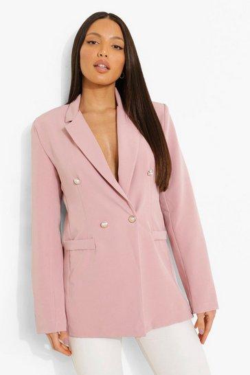 Blush pink Tall Button Detail Blazer