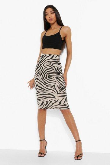 Stone beige Tall Zebra Print Midi Skirt