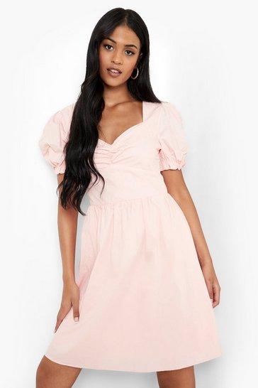 Blush pink Tall Corset Peasant Mini Skater Dress