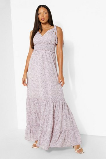 Lilac purple Tall Ditsy Floral Tie Shoulder Maxi Dress