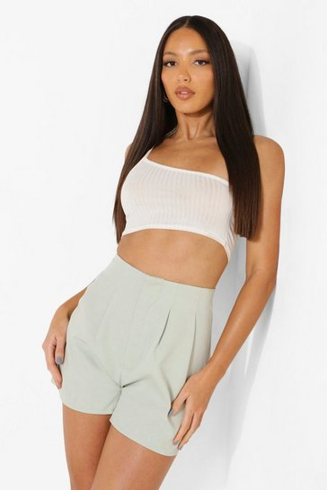 Sage green Tall Pleat Detail Tailored Shorts
