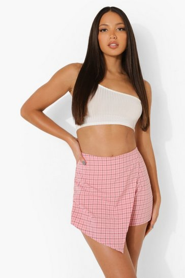 Pink Tall Check Tailored Skort