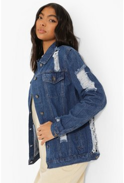 Indigo blue Tall Extreme Distressed Denim Jacket