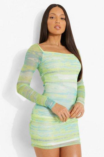 Green Tall Long Sleeve Square Neck Mini Dress