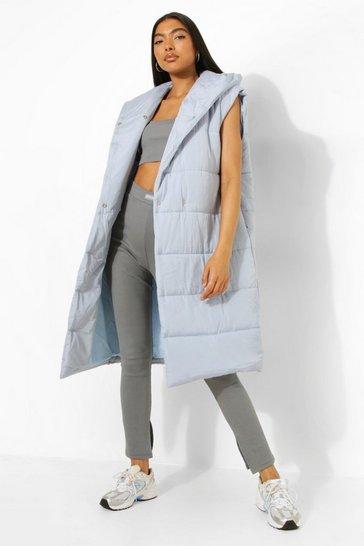 Blue Tall Hooded Longline Puffer Gilet
