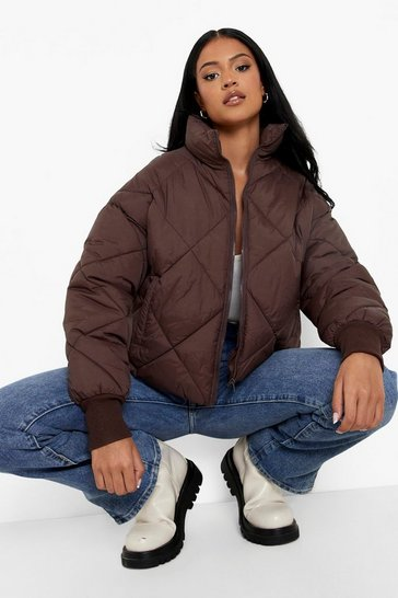 Chocolate brown Tall Diamond Quilt Funnel Neck Puffer