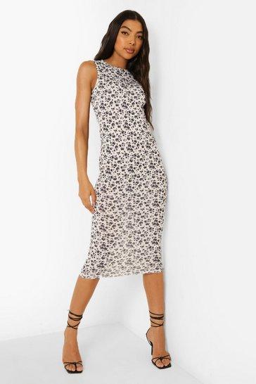 White Tall Tie Back Ditsy Print Midi Dress