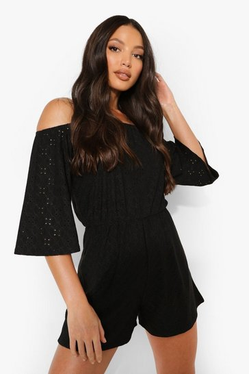 Black Tall Broderie Off The Shoulder Playsuit