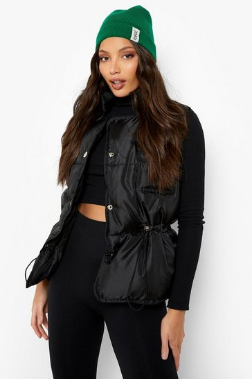 Black Tall Popper Detail Gilet