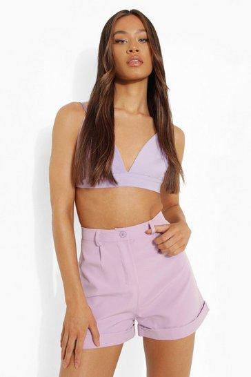 Lilac purple Tall Oversized Roll Hem Short
