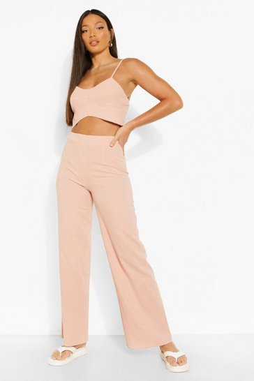 Nude Tall Strappy Crop And Wide Leg Woven Co-ord
