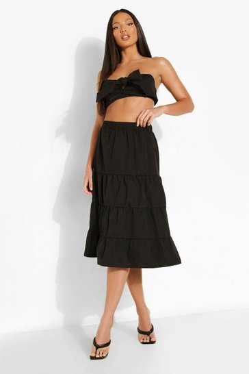 Black Tall Bandeau And Tiered Maxi Co-ord