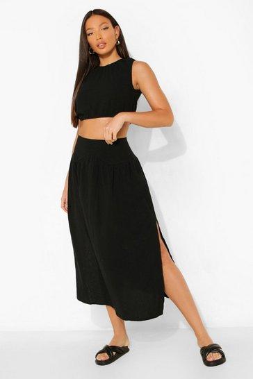 Black Tall Linen Co-ord