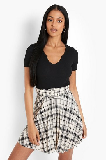 Cream white Tall Check Pleated Mini Skirt With Belt