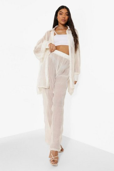 Ivory white Tall Crinkle Wide Leg Trousers