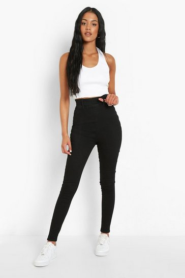 Black Tall Ruched Bum Booty Boost Denim Jegging